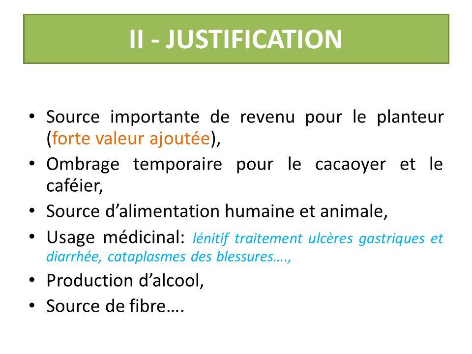 II - JUSTIFICATION Source importante de revenu pour le planteur (forte valeur ajoutée), Ombrage temporaire pour le cacaoyer et le caféier,