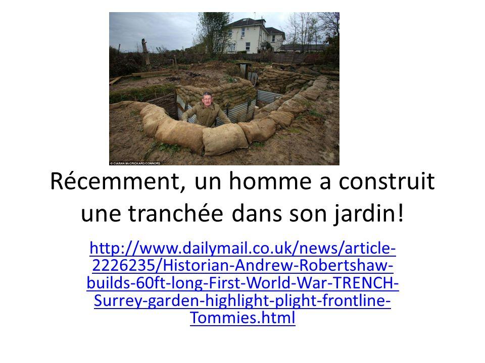 Récemment, un homme a construit une tranchée dans son jardin!