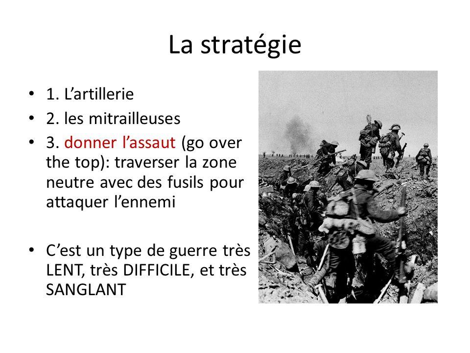 La stratégie 1. L'artillerie 2. les mitrailleuses