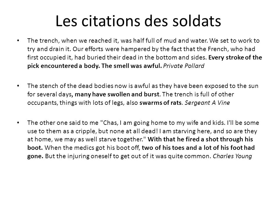 Les citations des soldats