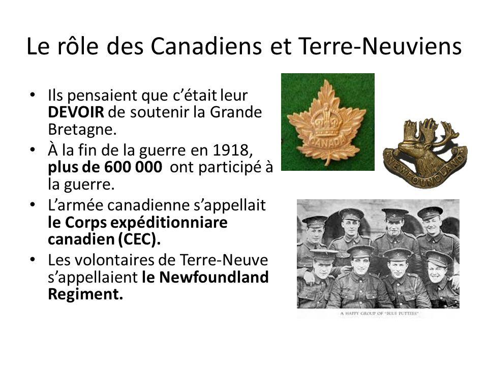 Le rôle des Canadiens et Terre-Neuviens