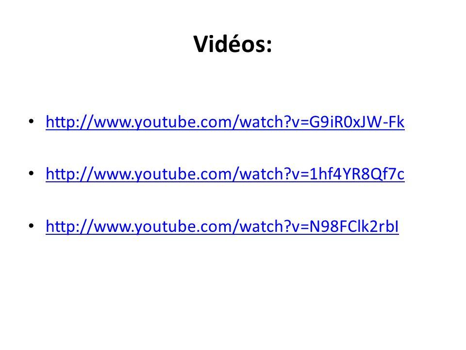 Vidéos: http://www.youtube.com/watch v=G9iR0xJW-Fk