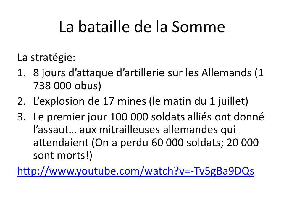 La bataille de la Somme La stratégie: