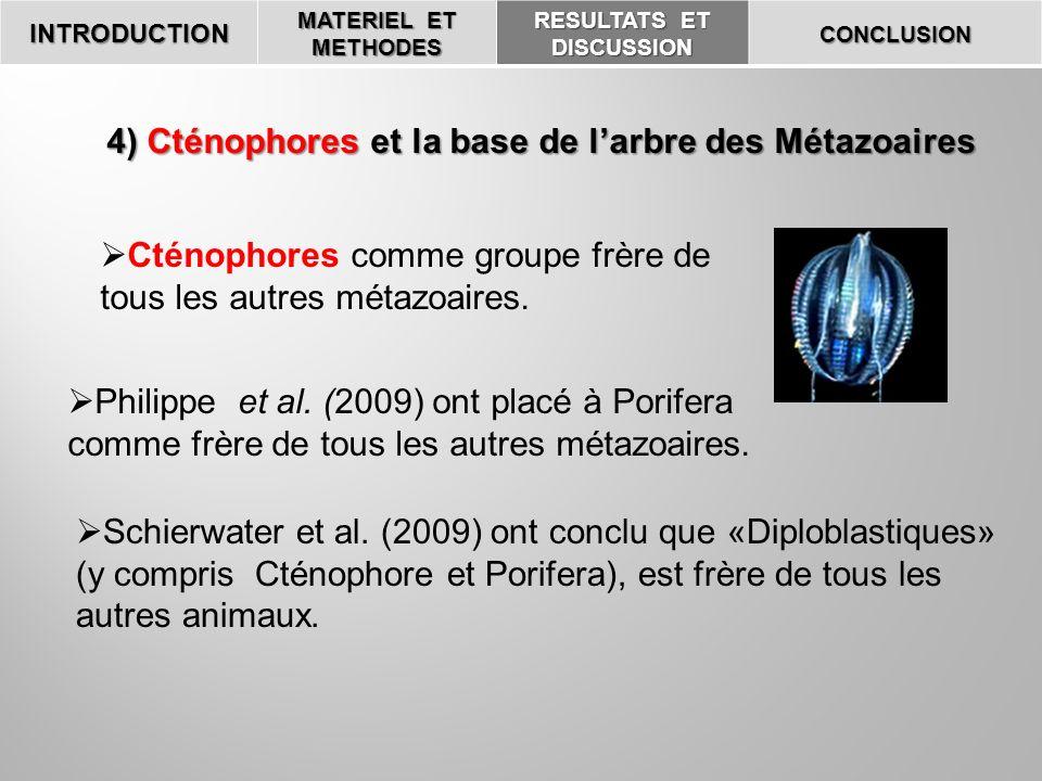 4) Cténophores et la base de l'arbre des Métazoaires