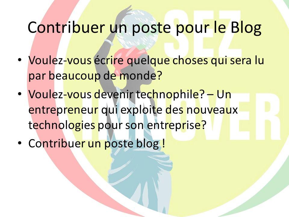 Contribuer un poste pour le Blog