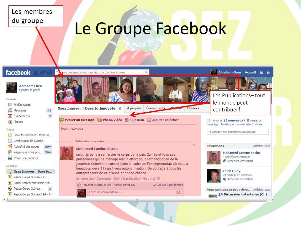 Le Groupe Facebook Les membres du groupe
