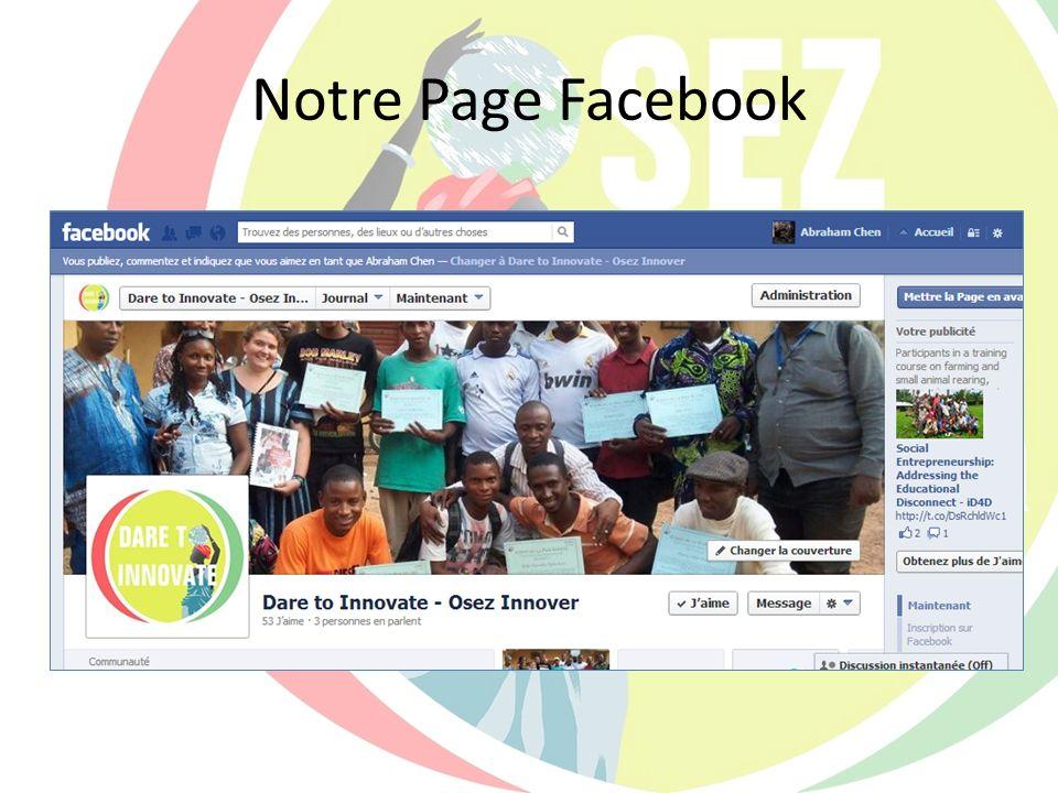 Notre Page Facebook Expliquer la page Facebook