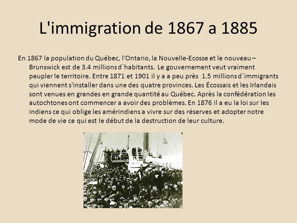 L immigration de 1867 a 1885