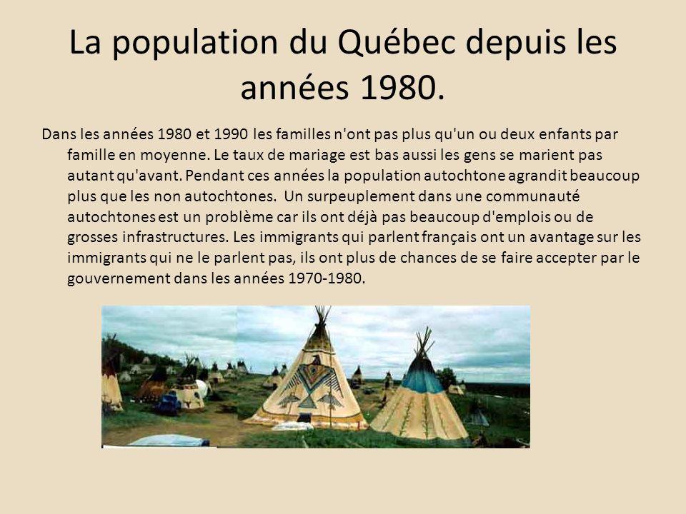 La population du Québec depuis les années 1980.
