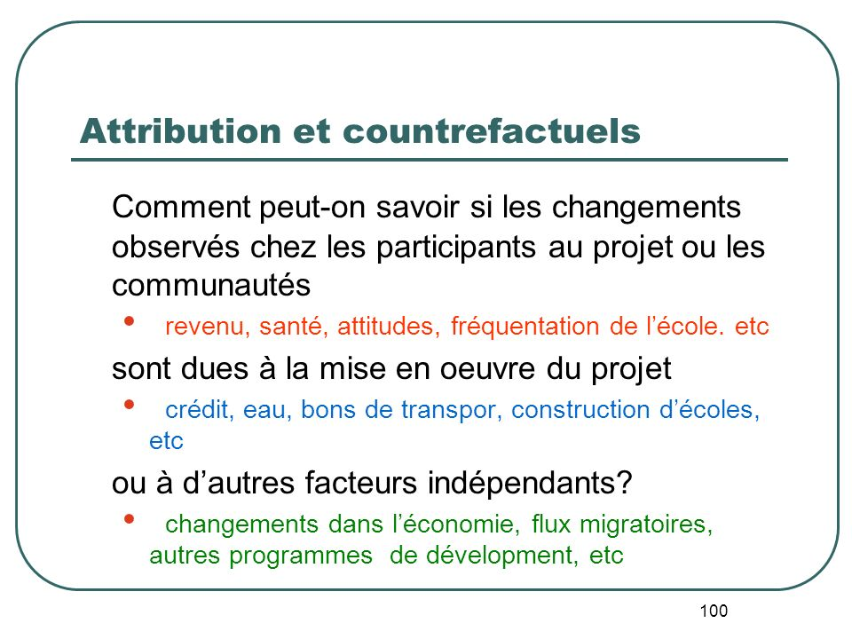 Attribution et countrefactuels