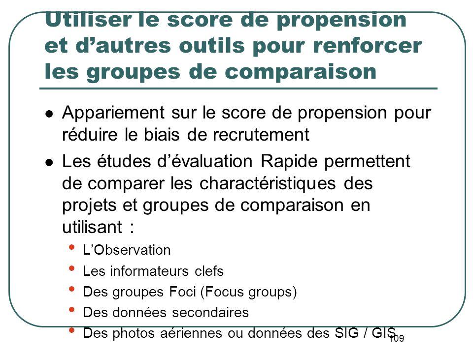 Utiliser le score de propension et d'autres outils pour renforcer les groupes de comparaison