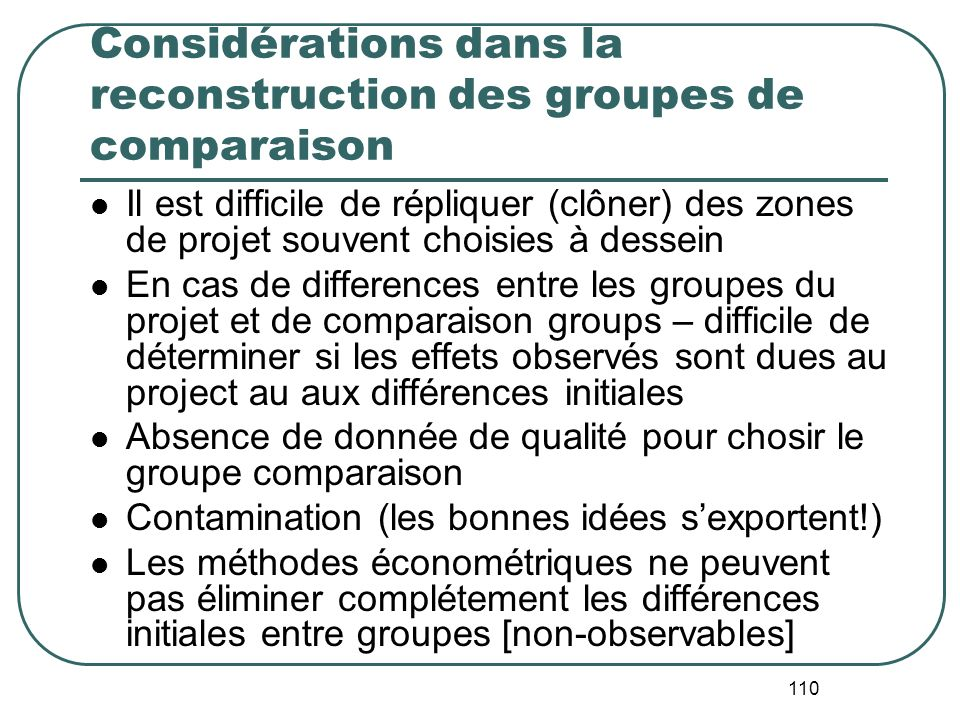 Considérations dans la reconstruction des groupes de comparaison