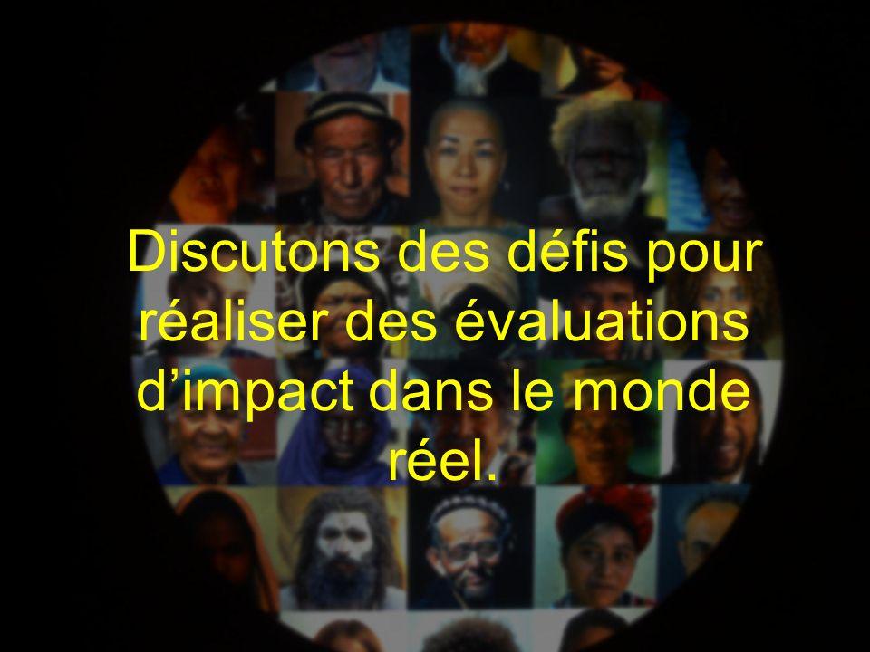 Discutons des défis pour réaliser des évaluations d'impact dans le monde réel.