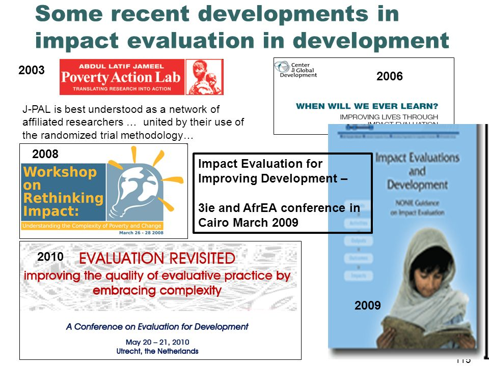 Some recent developments in impact evaluation in development