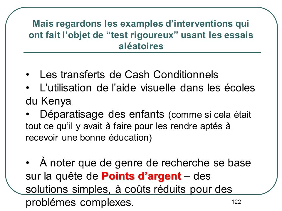 Les transferts de Cash Conditionnels
