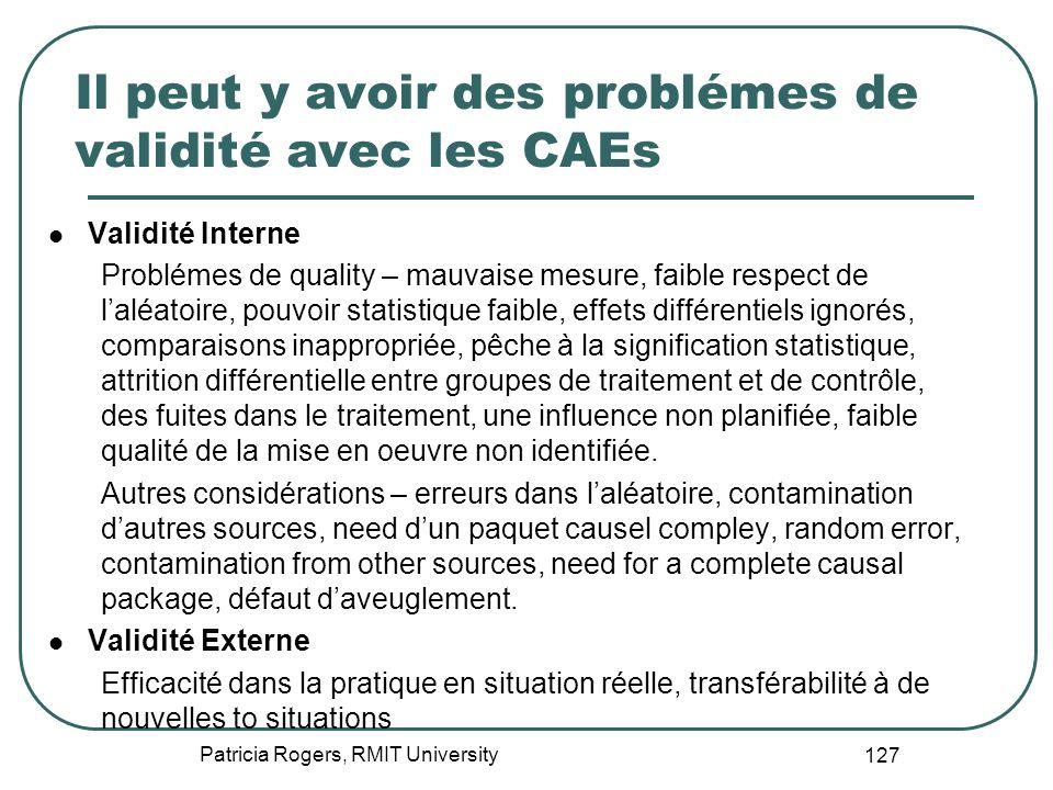 Il peut y avoir des problémes de validité avec les CAEs