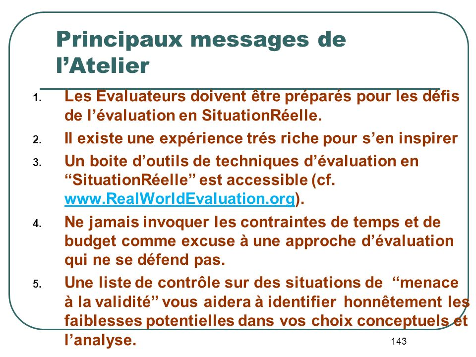 Principaux messages de l'Atelier