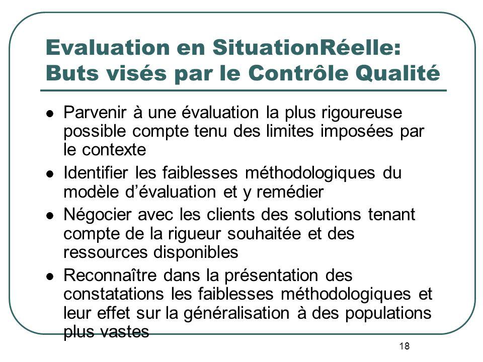 Evaluation en SituationRéelle: Buts visés par le Contrôle Qualité
