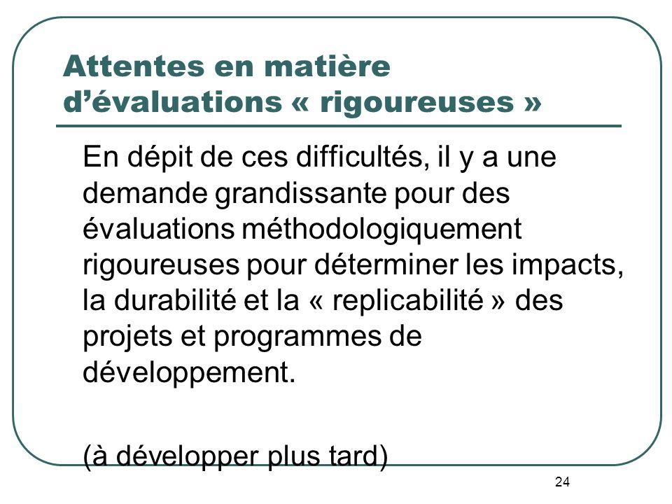 Attentes en matière d'évaluations « rigoureuses »
