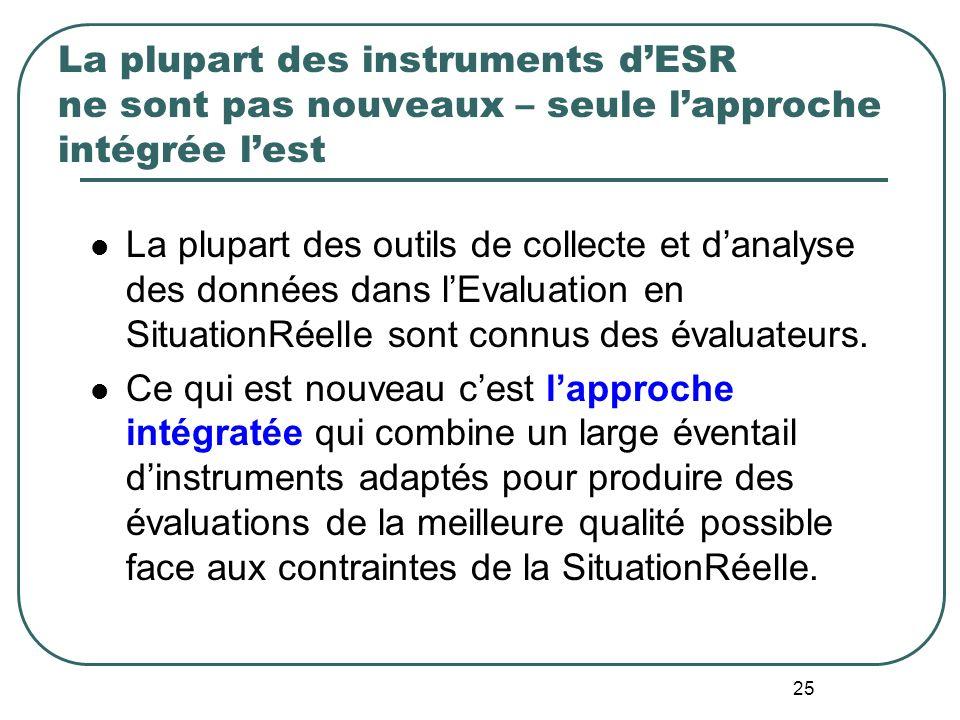 La plupart des instruments d'ESR ne sont pas nouveaux – seule l'approche intégrée l'est