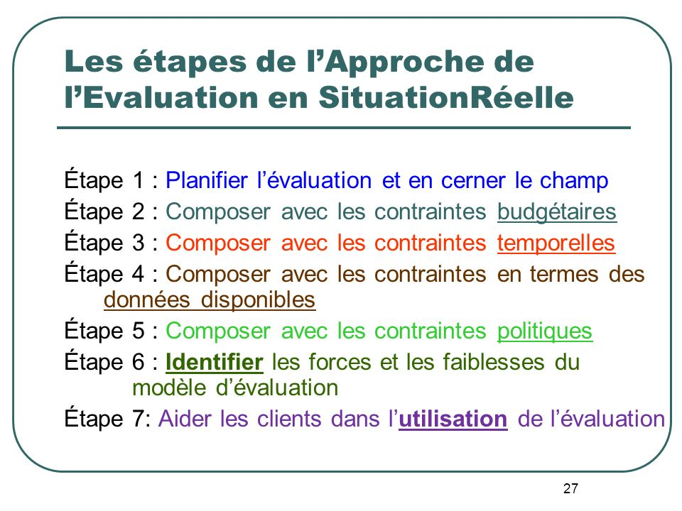 Les étapes de l'Approche de l'Evaluation en SituationRéelle