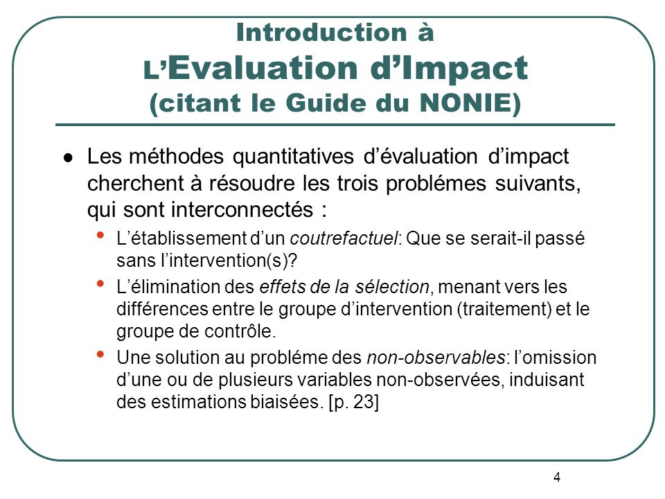 Introduction à L'Evaluation d'Impact (citant le Guide du NONIE)