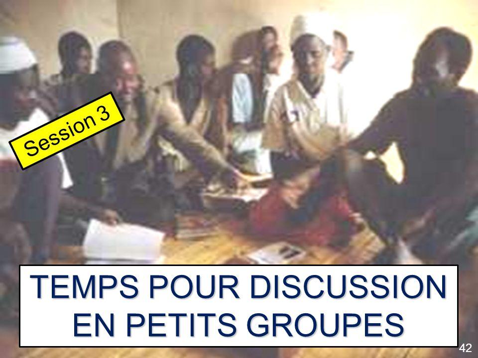 TEMPS POUR DISCUSSION EN PETITS GROUPES