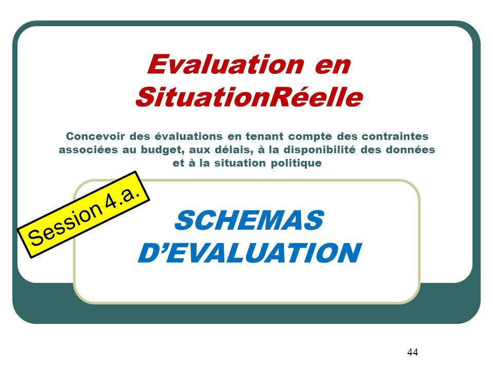 SCHEMAS D'EVALUATION Session 4.a.