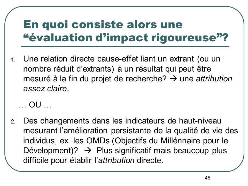 En quoi consiste alors une évaluation d'impact rigoureuse