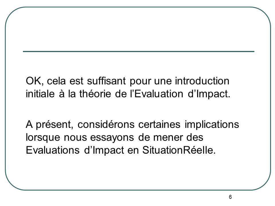 OK, cela est suffisant pour une introduction initiale à la théorie de l'Evaluation d'Impact. A présent, considérons certaines implications lorsque nous essayons de mener des Evaluations d'Impact en SituationRéelle.