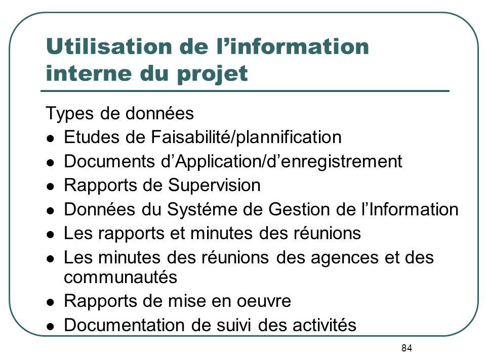 Utilisation de l'information interne du projet