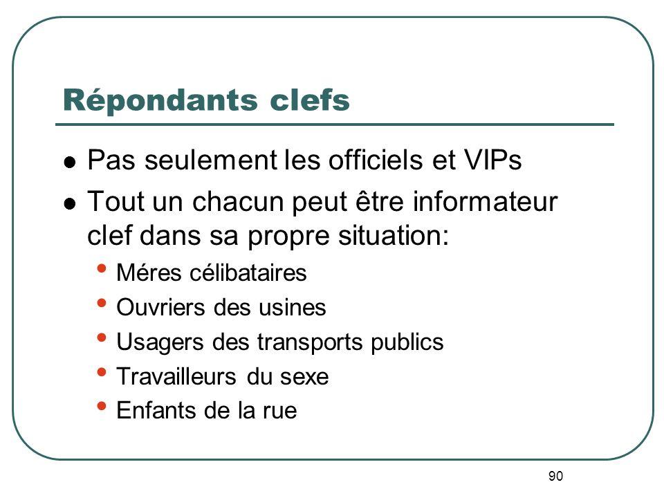 Répondants clefs Pas seulement les officiels et VIPs