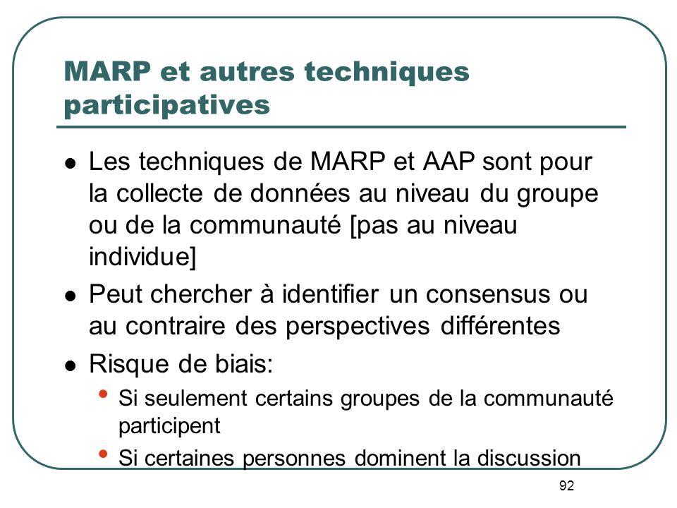 MARP et autres techniques participatives