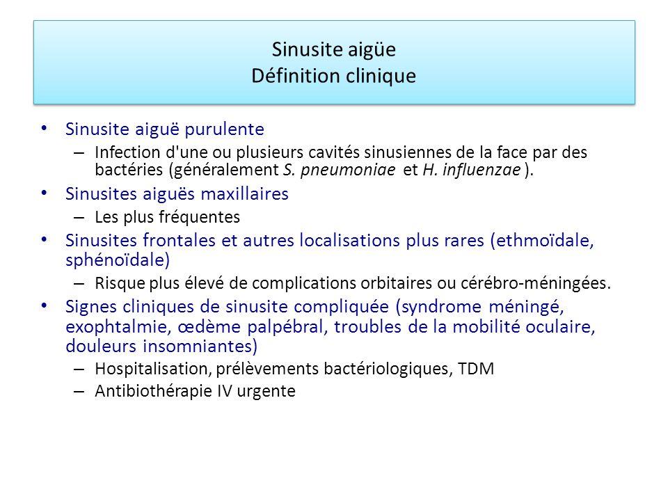 Sinusite aigüe Définition clinique
