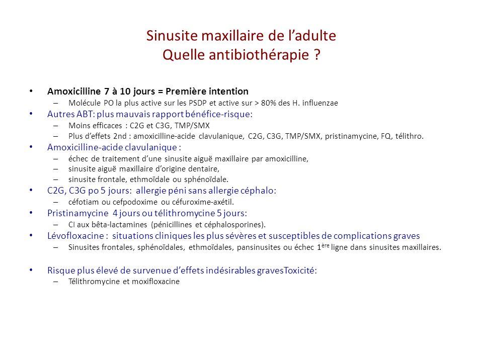 Sinusite maxillaire de l'adulte Quelle antibiothérapie