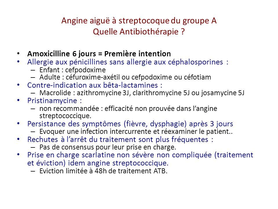 Angine aiguë à streptocoque du groupe A Quelle Antibiothérapie