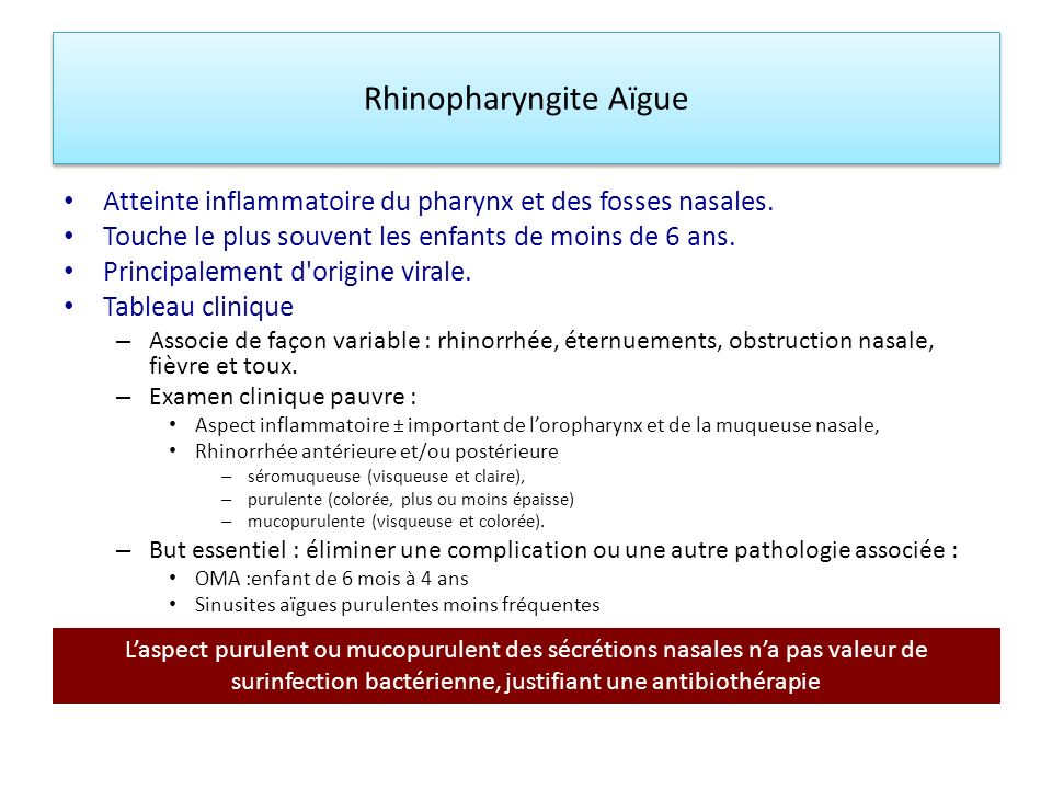 Rhinopharyngite Aïgue