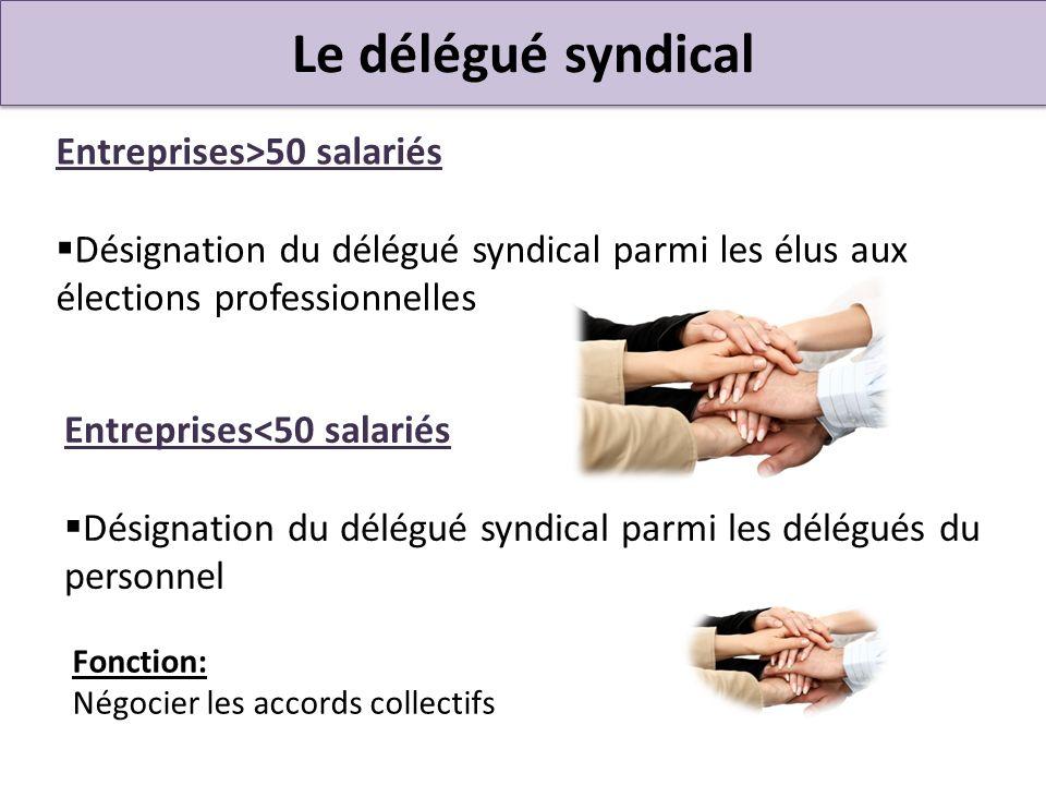 Le délégué syndical Entreprises>50 salariés