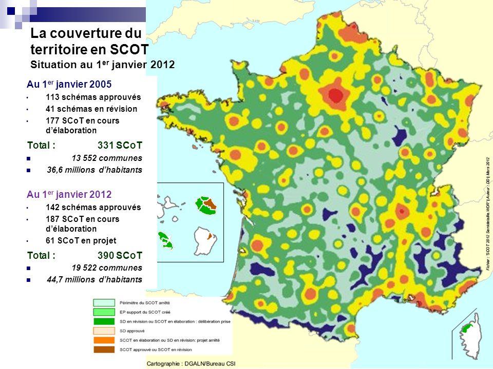 La couverture du territoire en SCOT Situation au 1er janvier 2012