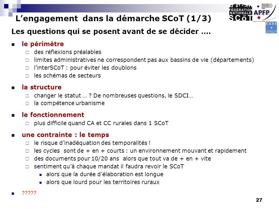 L'engagement dans la démarche SCoT (1/3)