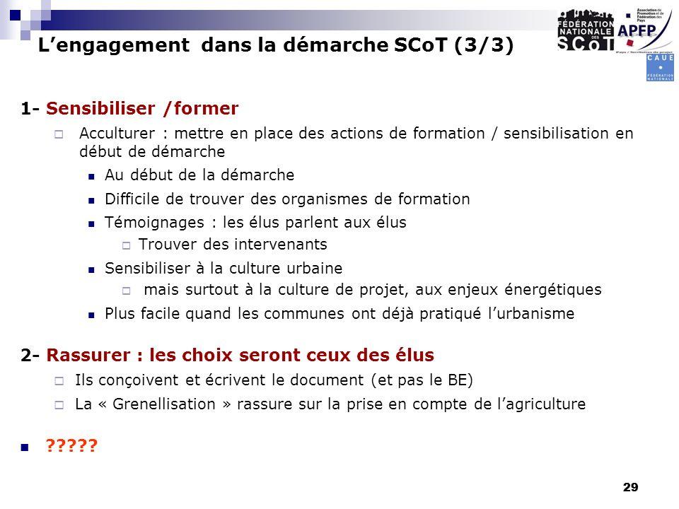 L'engagement dans la démarche SCoT (3/3)