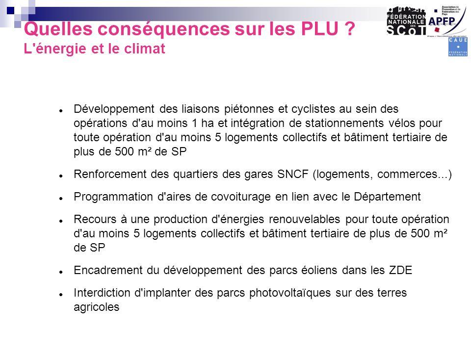Quelles conséquences sur les PLU L énergie et le climat