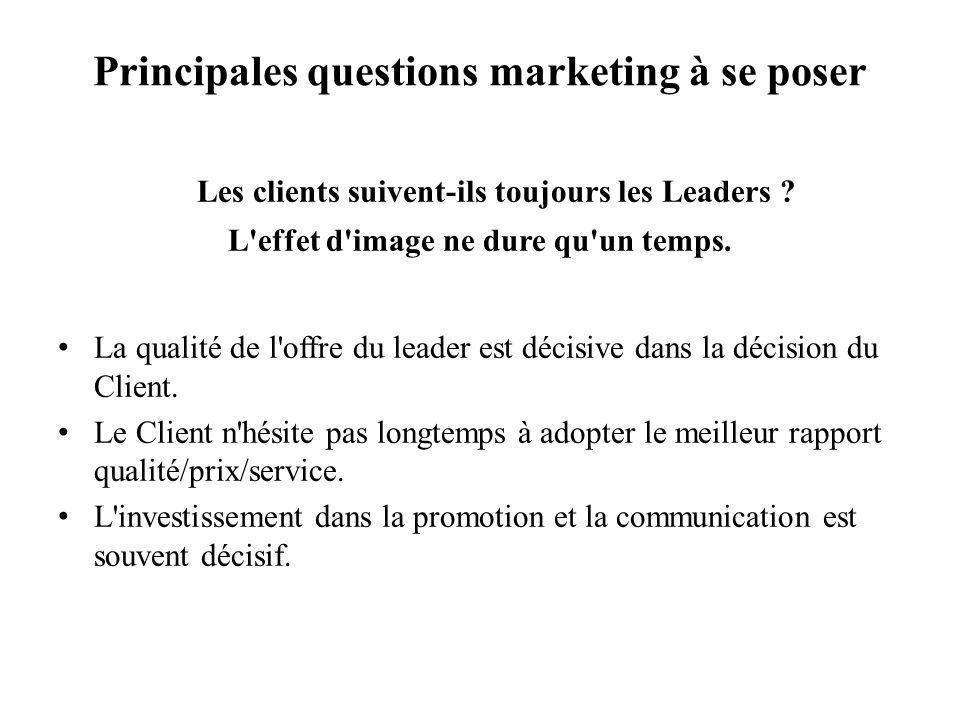Principales questions marketing à se poser