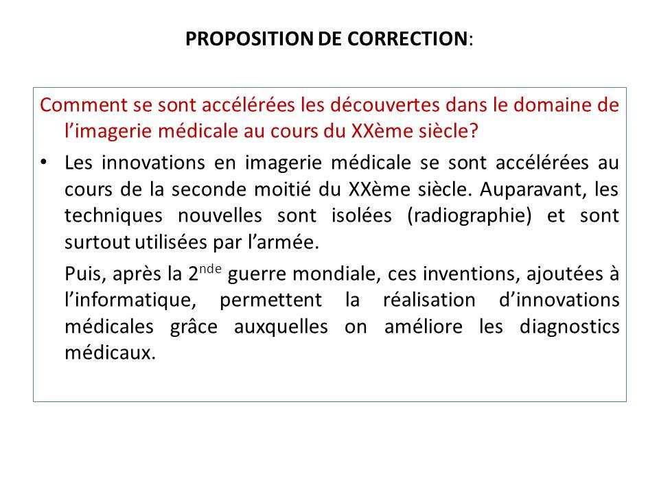 PROPOSITION DE CORRECTION: