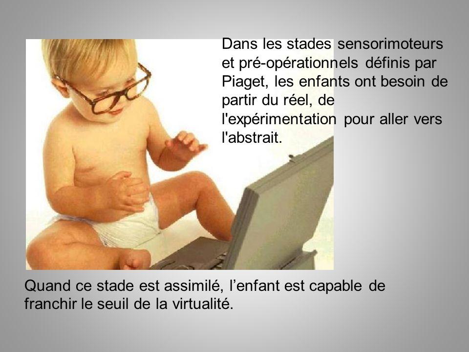 Dans les stades sensorimoteurs et pré-opérationnels définis par Piaget, les enfants ont besoin de partir du réel, de l expérimentation pour aller vers l abstrait.