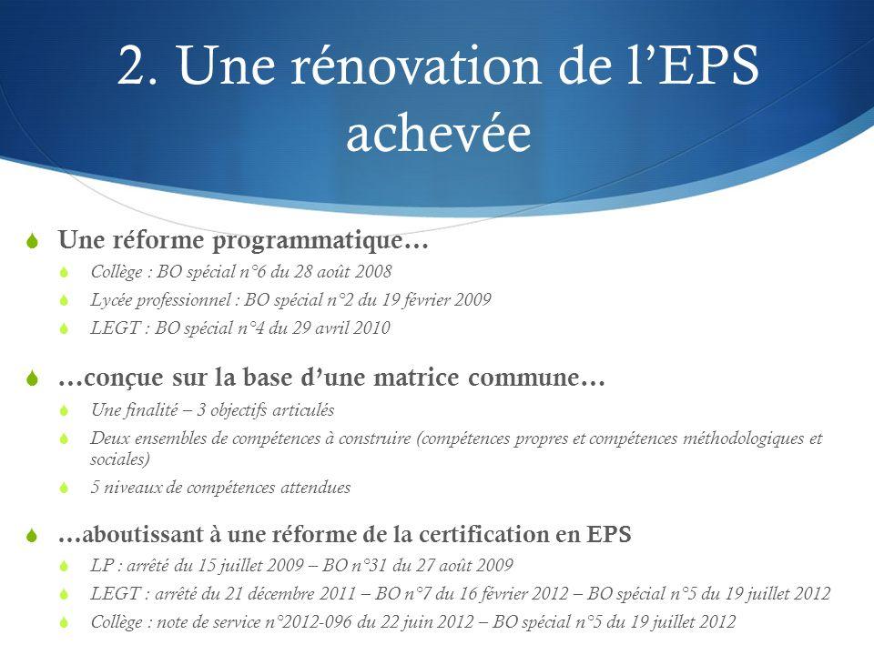 2. Une rénovation de l'EPS achevée