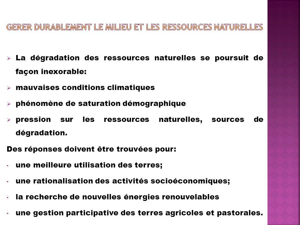 GERER DURABLEMENT LE MILIEU ET LES RESSOURCES NATURELLES