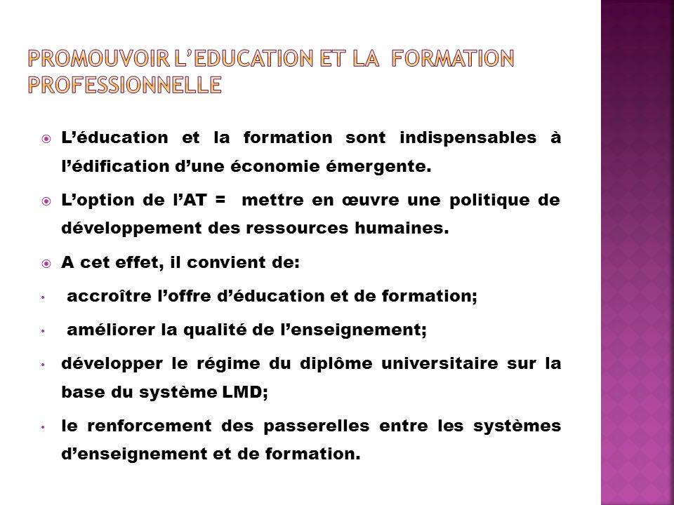 Promouvoir L'EDUCATION ET la FORMATION PROFESSIONNELLE