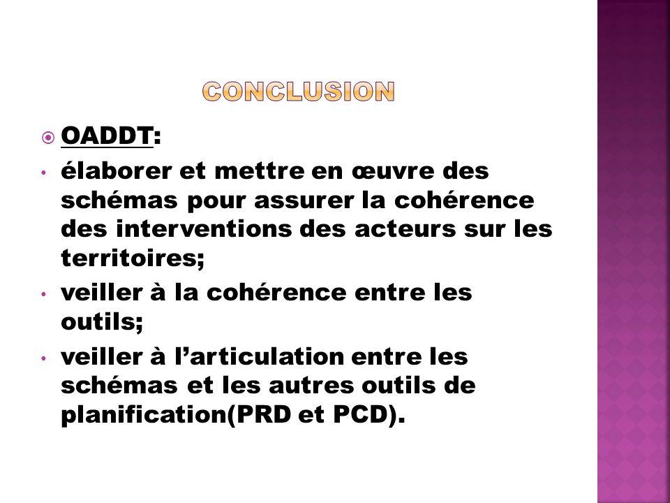 Conclusion OADDT: élaborer et mettre en œuvre des schémas pour assurer la cohérence des interventions des acteurs sur les territoires;