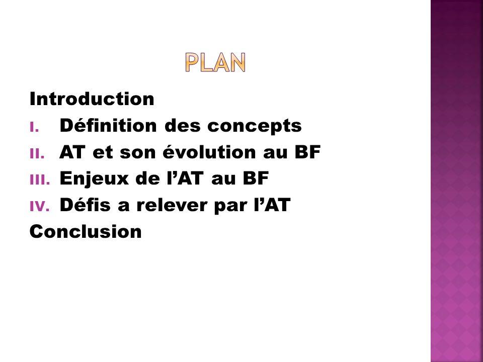 Plan Introduction Définition des concepts AT et son évolution au BF